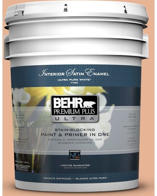 Behr Ultra Behr Ultra 5 Gal M210 4 Peach Shortcake Satin Enamel Interior Paint And Primer In One From Home Depot Real Simple
