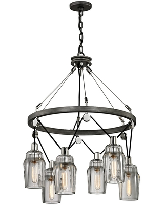 Troy Citizen 6-Light Chandelier in Graphite and Polished Nickel