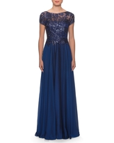 La Femme Floral Lace & Satin Gown, Size 4 in Navy at Nordstrom