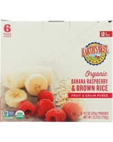 (6 Pouches) Earth's Best Organic Stage 2 Baby Food, Banana Raspberry and Brown Rice, 4.2 oz. Pouch