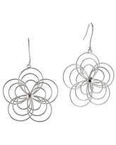 Silver Reflections Wire Flower Silver-Plated Drop Earrings, One Size , No Color Family