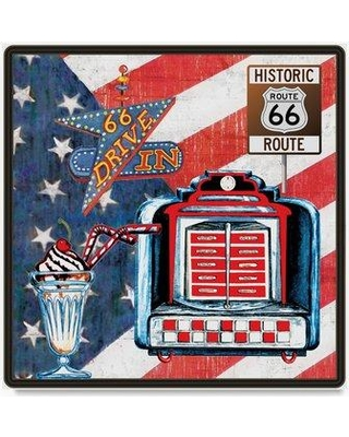 """Trademark Fine Art 'All American Route 66 Jukebox' Graphic Art Print on Wrapped Canvas ALI20740-C Size: 18"""" H x 18"""" W"""