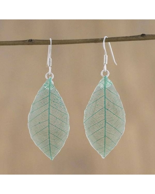 Handmade Sterling Silver Natural Leaf 'Stunning Nature in Jade' Earrings (Thailand) (Solid)