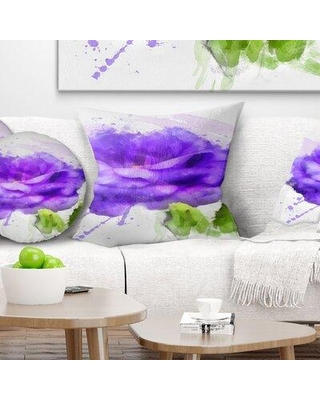 East Urban Home Floral Rose Flower w/ Paint Splashes Pillow, Product Type: Throw Pillow, Polyester/Polyfill/Polyester/Polyester blend in Purple