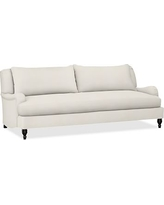 "Carlisle Upholstered Grand Sofa 90.5"" with Bench Cushion, Polyester Wrapped Cushions, Denim Warm White"