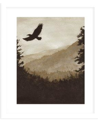 """Millwood Pines 'The Eagle' Painting Print on Canvas in Beige/Black BI109468 Size: 16"""" H x 20"""" W x 0.75"""" D Format: Framed"""