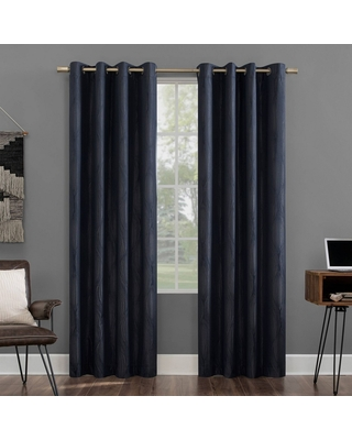 """96""""x52"""" Beck Geometric Ogee Thermal Extreme Blackout Grommet Top Curtain Panel Navy - Sun Zero"""