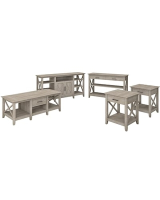 Bush Furniture Key West TV Stand Bundle, Washed Gray, Screens up to 70 (KWS026WG), Grey | Quill
