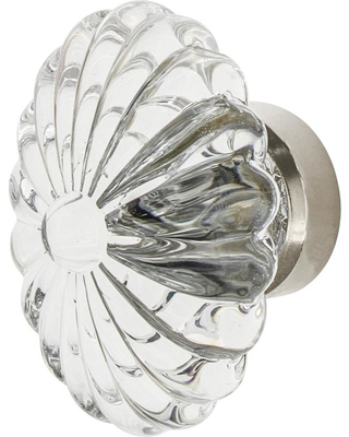 Nostalgic Warehouse Oval Fluted Crystal 1-3/4 in. Cabinet Knob in Polished Nickel