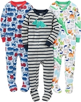 Simple Joys by Carter's Baby Boys' 3-Pack Snug-Fit Footed Cotton Pajamas, Fire Truck/Dino/Animals Green, 5T