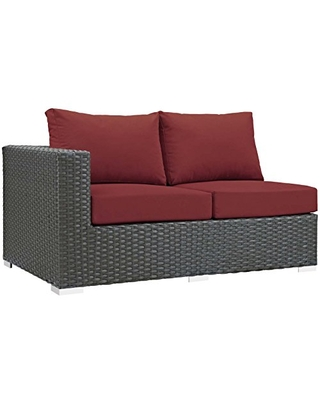 Modway Sojourn Wicker Rattan Outdoor Patio Sunbrella Fabric Left-Arm Loveseat in Canvas Red