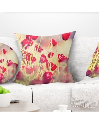 "Floral Poppy Flowers on Light Background Pillow East Urban Home Size: 18"" x 18"", Product Type: Throw Pillow"