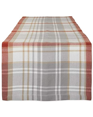 DII Thankful Autumn Collection Tabletop Essentials, 14x72, Cozy Picnic Plaid