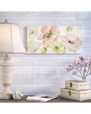 "Ophelia & Co. 'Watercolor Blush and Gold' - Wrapped Canvas Print PQDP5612 Size: 18"" H x 36"" W"