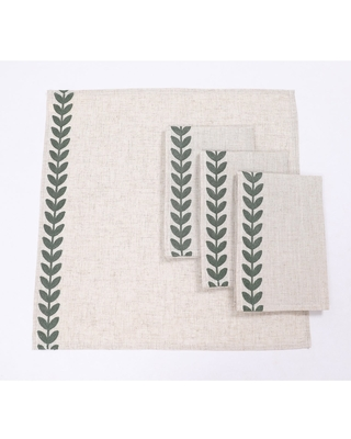 """Cute Leaves Crewel Embroidered Napkins 20""""x20"""", Pine Green, Set of 4 (Taupe)"""