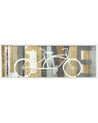 "East Urban Home 'Beachscape Tandem Bicycle Love Gold Neutral' Graphic Art Print on Canvas ESUM3832 Matte Color: No Matte Format: Wrapped Canvas Size: 12"" H x 36"" W"