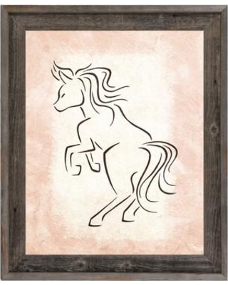 """Click Wall Art 'Gestural Horse Rear Rose' Framed Painting Print AML0000088FR Size: 17.5"""" H x 14.5"""" W x 1"""" D"""