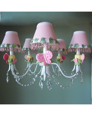 Pink Flutter Butterfly 5 - Light Shaded Classic / Traditional Chandelier Silly Bear Lighting Shade: Sugar Kisses