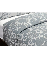 Astoria Grand Savoy Reversible Duvet Cover ASTG1564 Size: Full/Queen, Color: Denim Blue