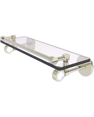 Allied Brass Clearview Collection Gallery Rail Glass Shelf with Groovy Accents (Polished Nickel - 16 Inch)