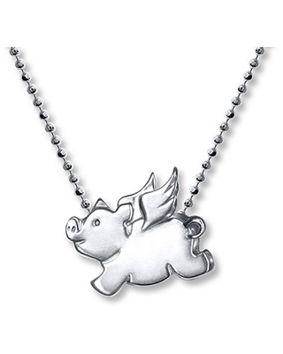 Alex Woo Signs Flying Pig Necklace Sterling Silver