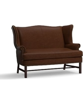 Thatcher Leather Settee, Polyester Wrapped Cushions, Legacy Chocolate