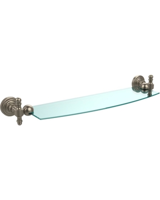 Allied Brass Retro Wave 18 in. Glass Shelf in Antique Pewter