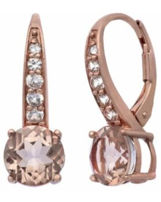 Simulated Morganite and Lab-Created White Sapphire 14k Rose Gold Over Silver Drop Earrings, Women's, Pink