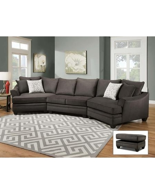 "Cupertino 183810-4040-2CU-SEC-FS 173"" 3 PC Cuddler Sectional with Decorative Pillows Flared Arms Block Feet Reversible Seat Cushions Flannel Seal"
