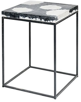 Extra Tall Cowhide-Style Concrete Topped Cube Side Table, Stool, End Table, or Nighstand