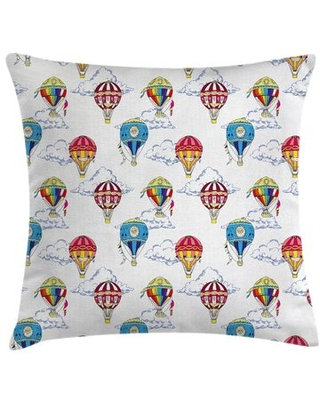 """Clouds Hot Air Balloons Square Pillow Cover East Urban Home Size: 20"""" x 20"""""""