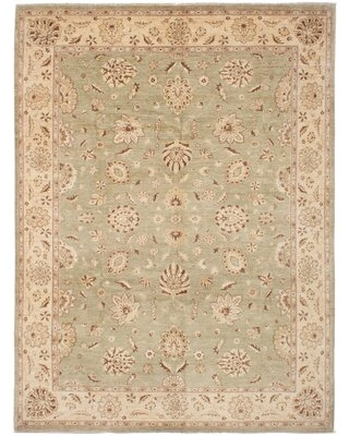 """One-of-a-Kind Hutchcraft Hand-Knotted 2010s Chobi Beige 8'10"""" x 11'10"""" Wool Area Rug"""