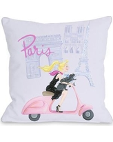 "One Bella Casa Paris Girl on Moped Throw Pillow 73195PL18 Size: 16"" x 16"""