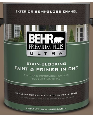 BEHR ULTRA 1 gal. #N230-6 Whiskey Barrel Semi-Gloss Enamel Exterior Paint and Primer in One