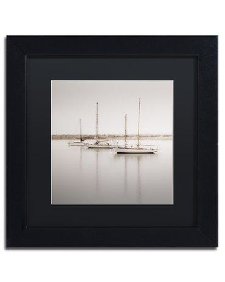"""Trademark Art 'Three Boats' by Moises Levy Framed Photograph on Canvas ALI1149-B1111MF / ALI1149-B1616MF Size: 11"""" H x 11"""" W x 0.5"""" D Matte Color: Black"""