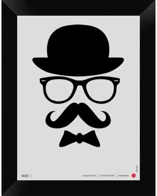 """'Hats Glasses and Mustache 1' Framed Graphic Art Print on Canvas Naxart Size: 18"""" H x 14"""" W x 1.5"""" D"""