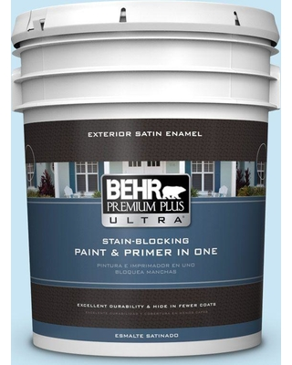 BEHR ULTRA 5 gal. #550C-2 Sapphireberry Satin Enamel Exterior Paint and Primer in One