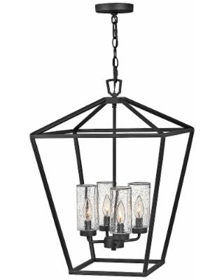 """Alford Place 17"""" Wide Black 4-Light Outdoor Foyer Chandelier"""