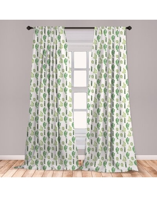 Ambesonne Cactus 2 Panel Curtain Set, Doodle Style Cartoon Floral Arrangement Spring Season Mexican Culture, Lightweight Window Treatment Living Room