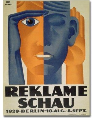 "Trademark Fine Art ""Reklameschau 1929"" by Lucian Bernard Vintage Advertisement on Canvas BL00204-C Size: 47"" H x 35"" W x 2"" D"