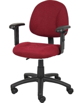 Deluxe Posture Chair with Adjustable Arms Burgundy (Red) - Boss Office Products