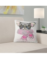 Deal 25 Off Designart Cute Puppy Dog With Neck Shawl Contemporary Animal Throw Pillow Square 16 In X 16 In Small