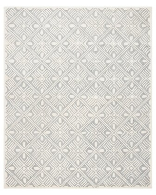 Vedika Hand-Tufted Wool Gray/Ivory Area Rug Union Rustic Rug Size: Round 5' x 5'