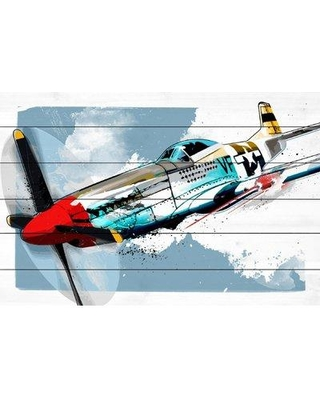 """Marmont Hill 'P51 Mustang' by Rick Martin Painting Print on White Wood MH-RICMAR-13-WW- Size: 12"""" H x 18"""" W x 1.5"""" D"""