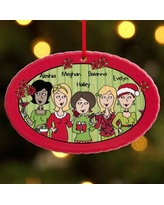 Personalized 'Tis The Season with The Girls Oval Christmas Ornament