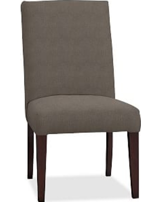 PB Comfort Square Upholstered Dining Side Chair, Performance Heathered Tweed Graphite