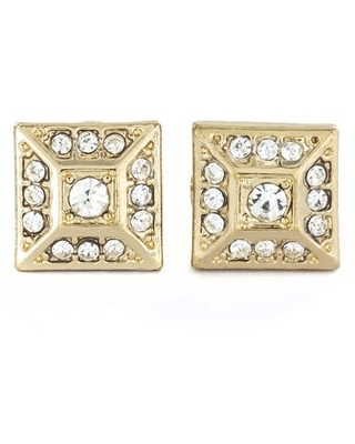Coastal Jewelry Gold Micro Pave Crystal Square Pyramid Stud Earrings