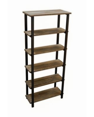 Alaterre Pomona 5-Shelf Metal And Solid Wood Bookcase In Natural