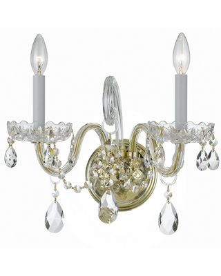 Crystorama Traditional Crystal 2-Light 12 inch Wall Sconce in Polished Brass with Clear Spectra Crystals