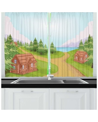 2 Piece Log Cabin Countryside Theme Sketch of a Small Village with Wooden Lodges Kitchen Curtain Set East Urban Home